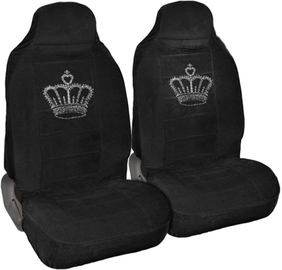 CarsCover King Crown Crystal Diamond Bling Rhinestone Black Car SUV Truck High Back Seat Covers