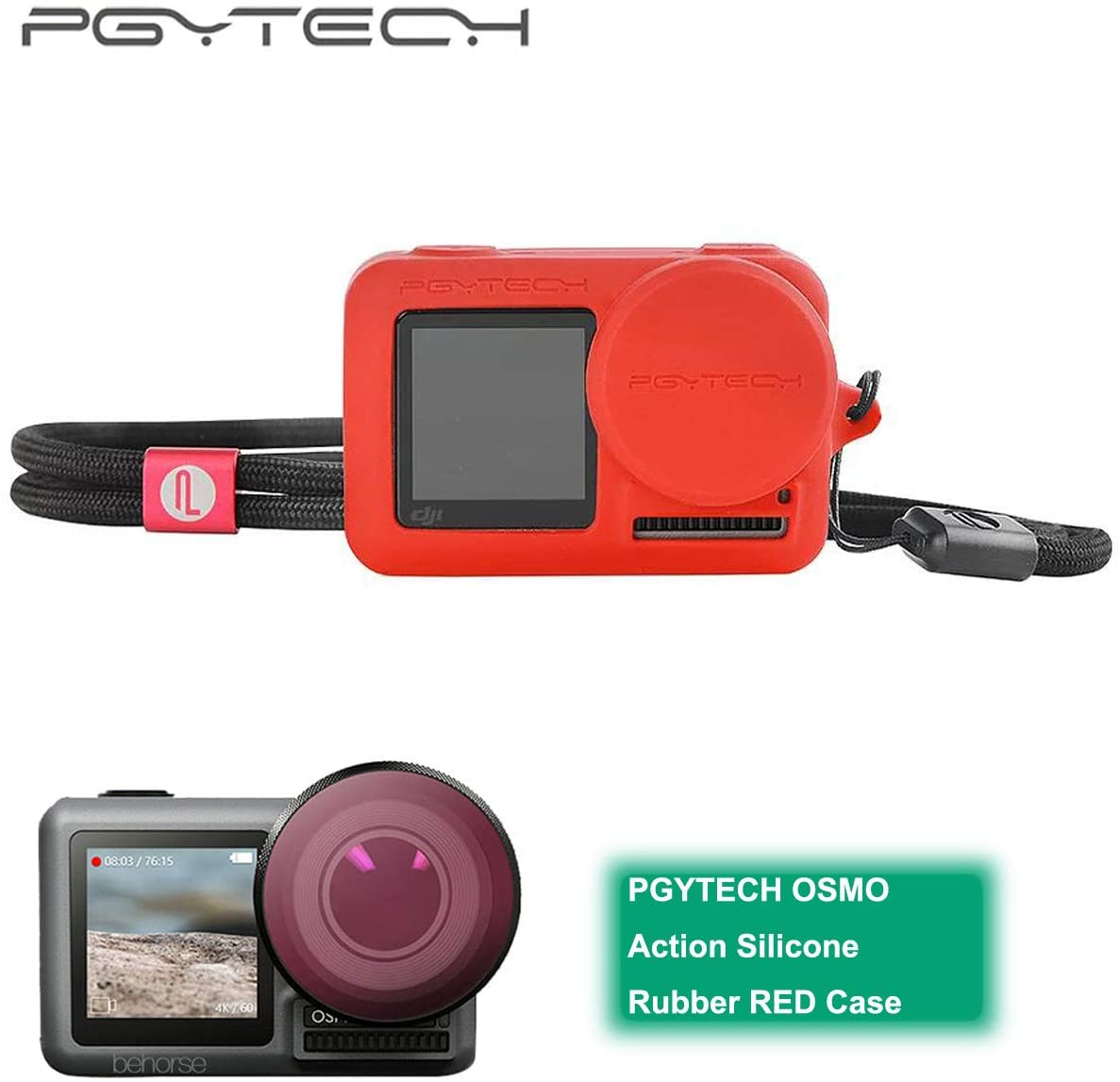 PGYTECH Huaye OSMO Compact Action 4K Waterproof Camera Sport Type-C Cable Protector Lens Hood Cage Compatible with DJI OSMO Action Camera Accessories (PGYTECH OSMO Action Silicone Rubber Red Case)