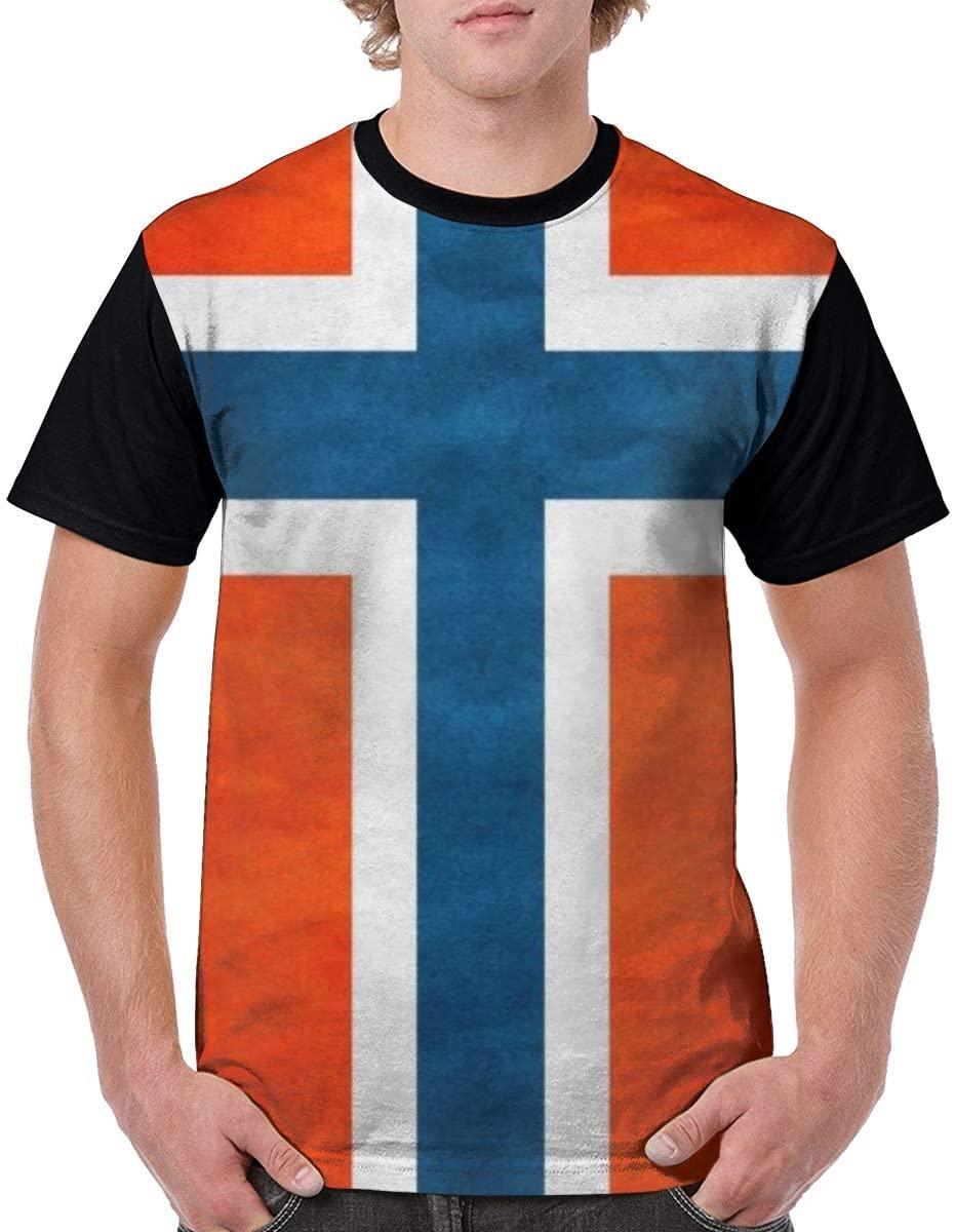 Qiazooa Mans Norske Flag Classic Short Sleeve Printed Tops Fashion Casual T Shirt Crew Neck Tshirts