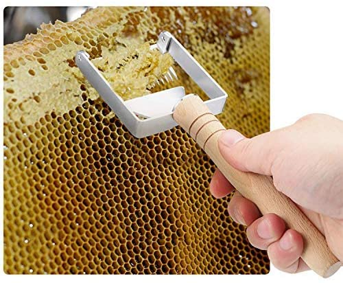 Honey Uncapping Fork Scraper Knife Bee Hive Shovel Hand Tool (Wooden Handle,16 Pins)