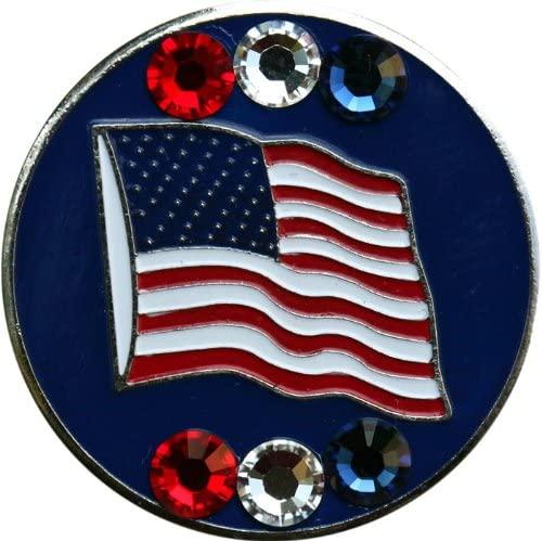 Swarovski USA Blue Waving Flag Golf Ball Marker with Matching USA Hat Clip