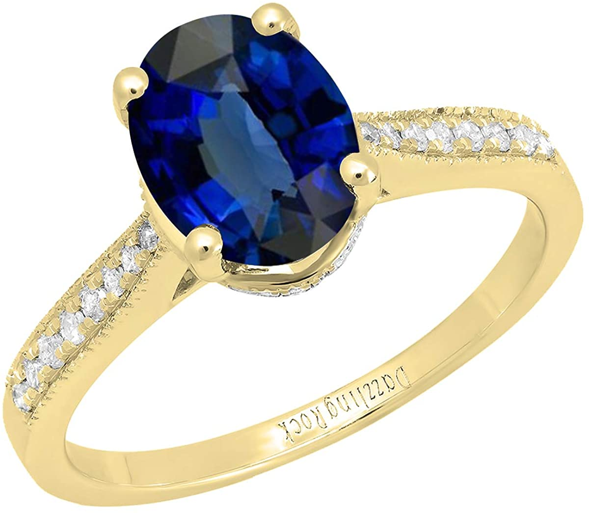 Dazzlingrock Collection 9X7 MM Oval Lab Created Gemstone and Round Natural Diamond Ladies Engagement Ring, 14K Yellow Gold