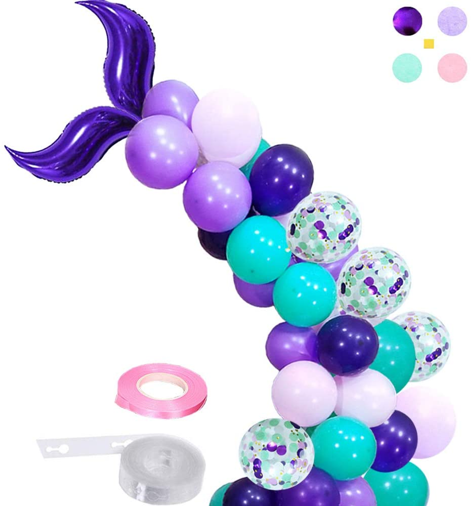 Elepplrty Mermaid Balloon Garland- for Girl Birthday Party Decorations Mermaid Ocean Theme Party Supplies,Baby Shower