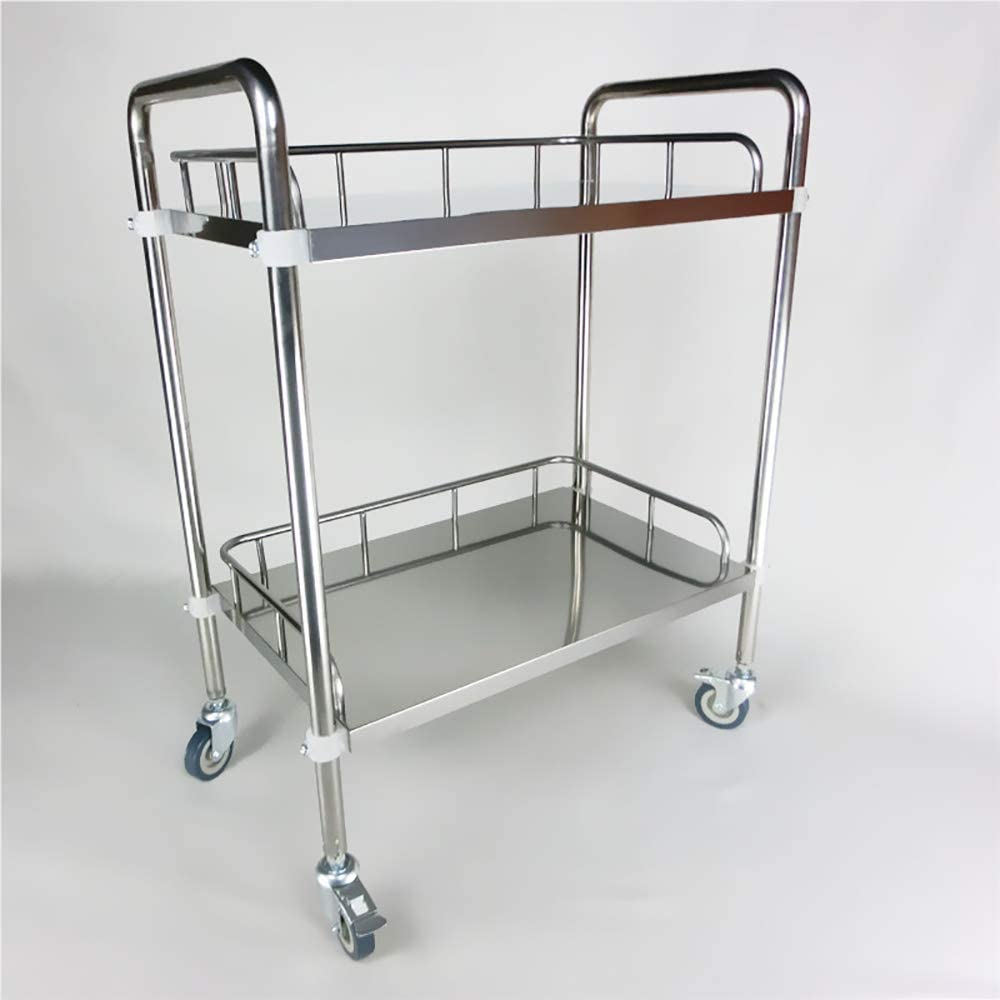 GBX Cart,Double Layer Silent Medical Trolley,Assembly Stainless Steel Medical Laboratory Equipment Equipment Cart,Instrument Change Trolley,Four-Wheel Beauty Salon Clinic Cart, Load 100 Kg,Medium