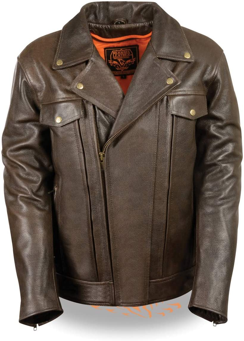 Milwaukee Leather MLM1522 Mens Retro Brown Leather Motorcycle Jacket with Gun Pockets - X-Large