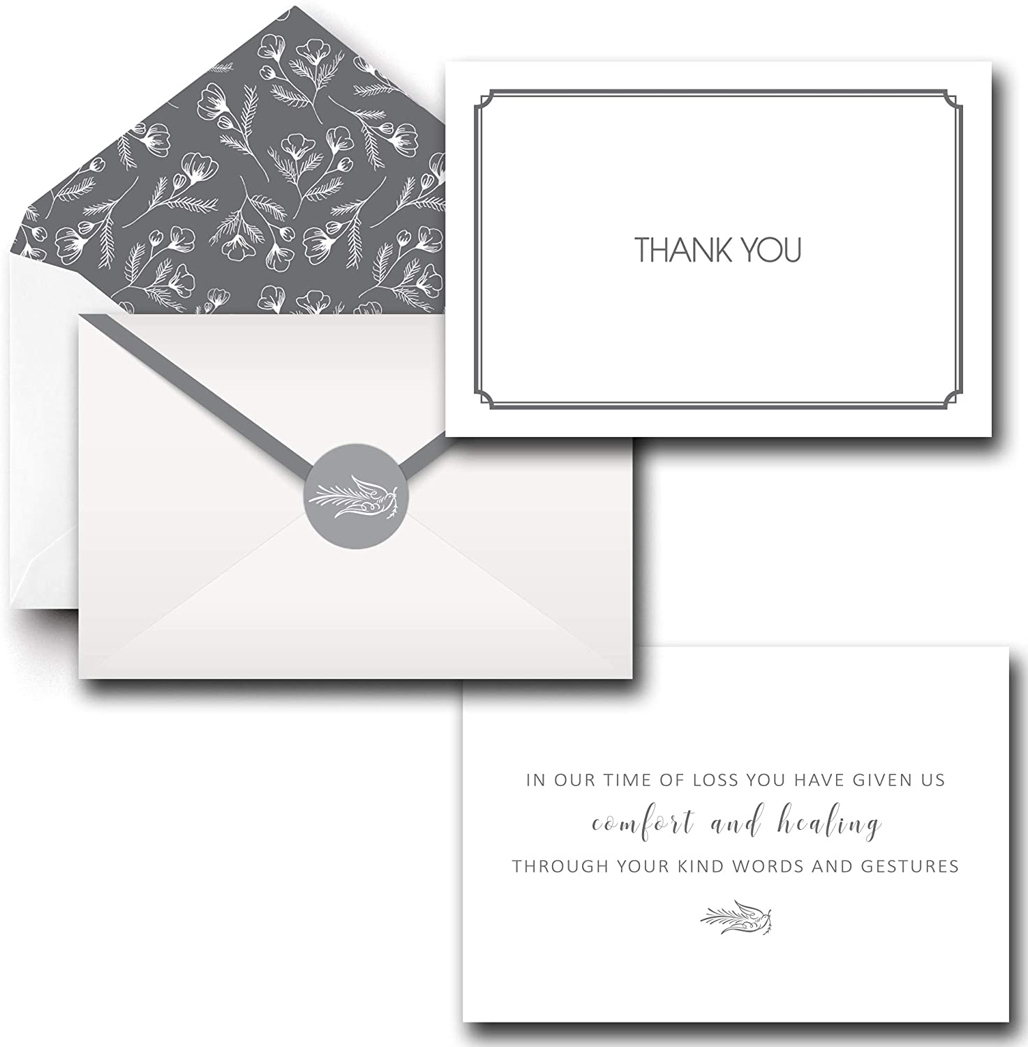Funeral Thank You Cards With Envelopes, Set of 20 Bulk 4x6 Sympathy Notes Bereavement Card Set with Acknowledgment Message Inside, Include Matching Seal Stickers
