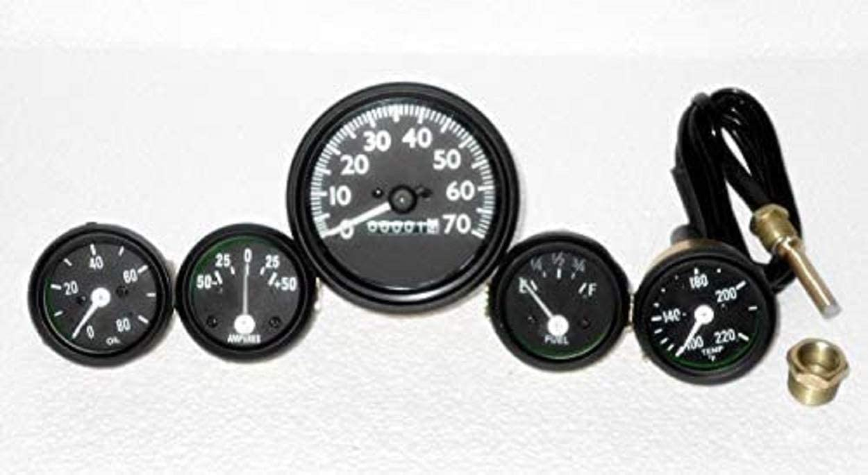 CJ GPW Gauges Kit - 70 mph Speedometer Temp Oil Fuel Ampere for Willys MB Jeep FD