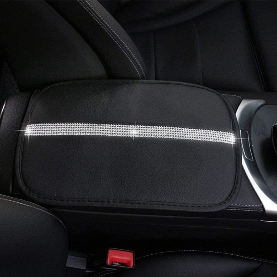 MLOVESIE Auto Center Console Cover Carbon Fiber Leather Memory Foam Car Armrest Cushion Universal Fit for Most Car (Bling)