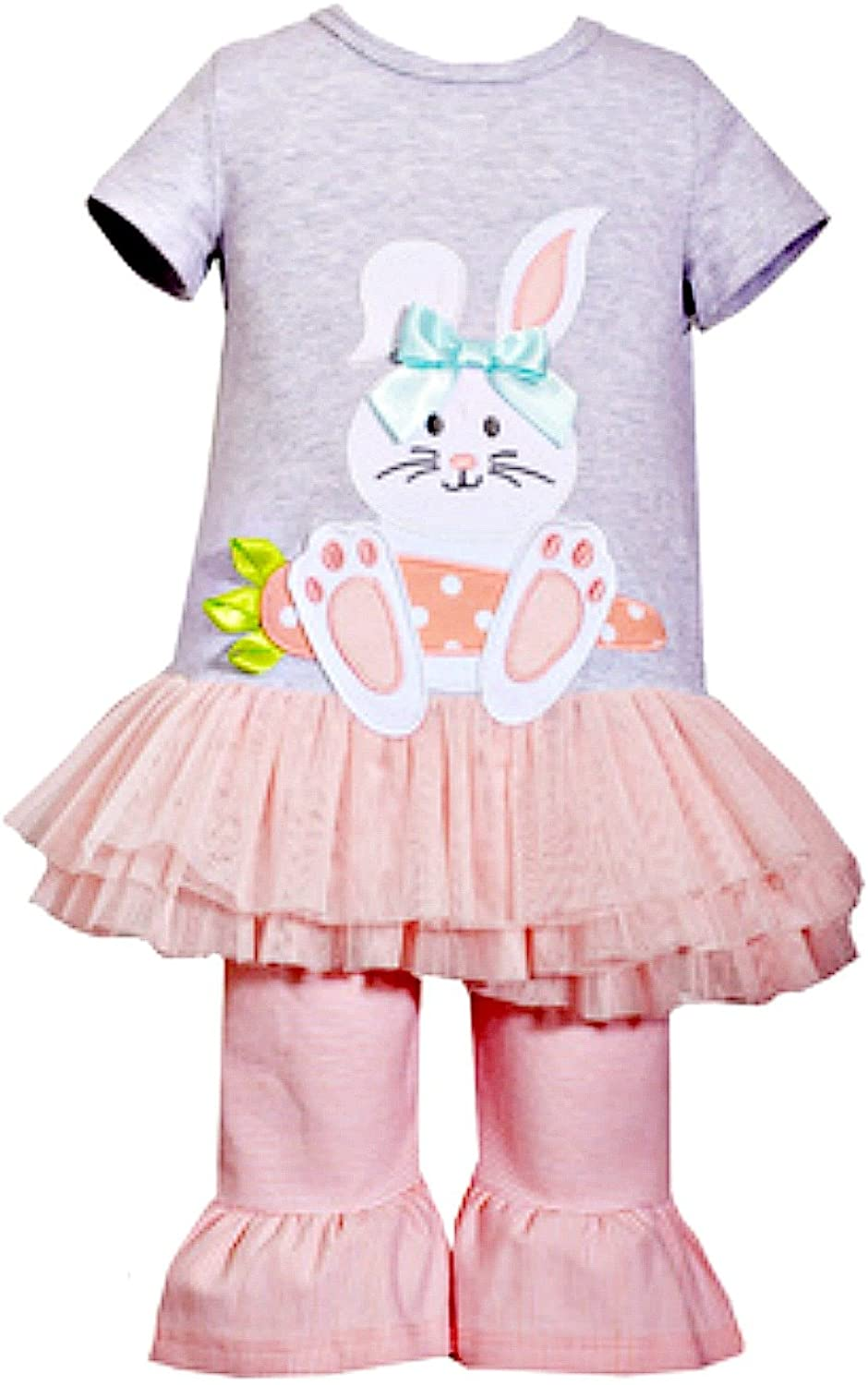 Bonnie Jean Toddler Girl's Easter Outfit Bunny Top and Leggings Set