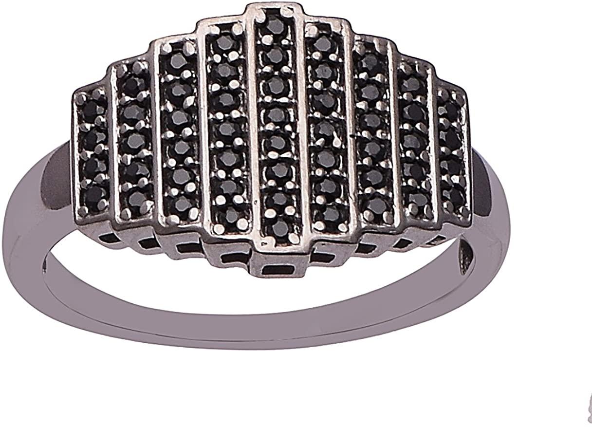 Black Spinel 925 Sterling Silver Ladder Ring Cluster Cocktail Bar Ring