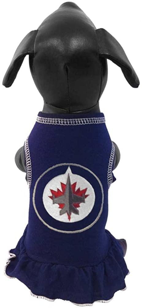 All Star Dogs NHL Winnipeg Jets Dog Cheerleader Dress, Medium, Navy