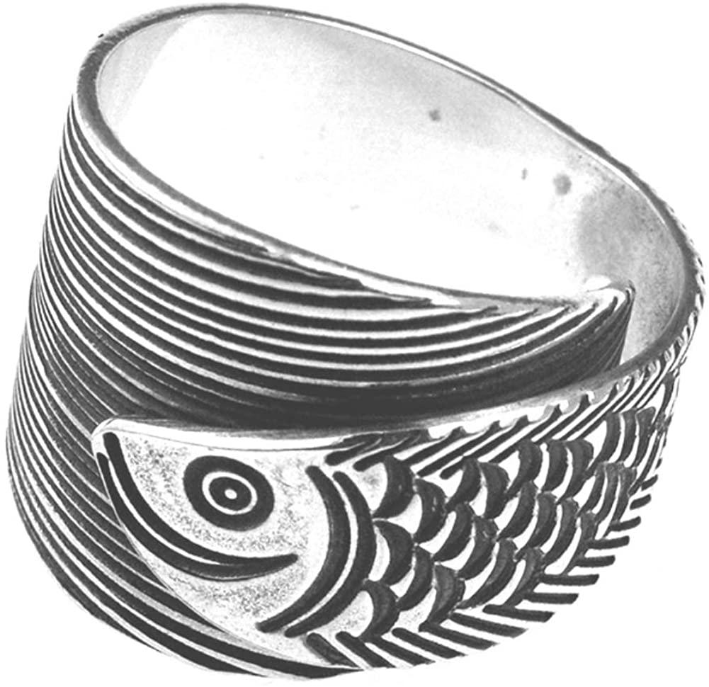 Helen de Lete Ancient Fish S925 Sterling Silver Adjustable Ring
