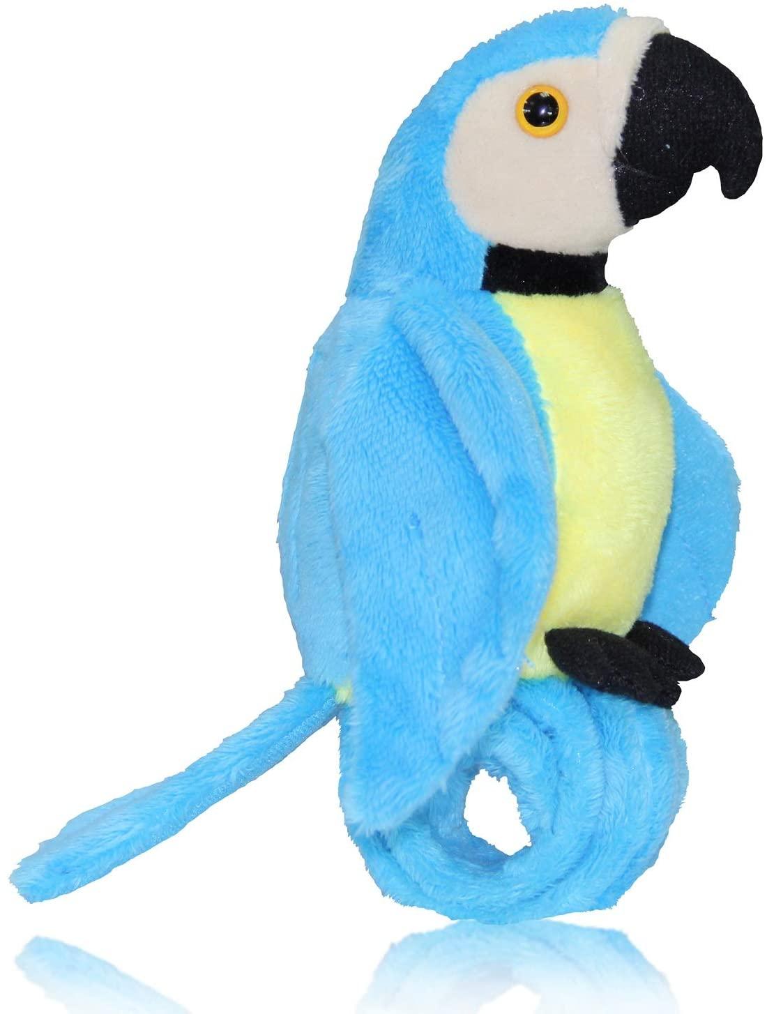 CREATIVE BONNIE Talking Parrot Plush Toy Repeats What You Say, Slap Bracelet Stuffed Animals for Kids, Interactive Mimicry Electronic Pet (Blue)