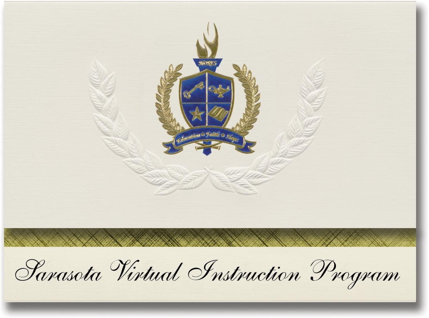 Signature Announcements Sarasota Virtual Instruction Program (Sarasota, FL) Graduation Announcements, Presidential Basic Pack 25 with Gold & Blue Metallic Foil seal