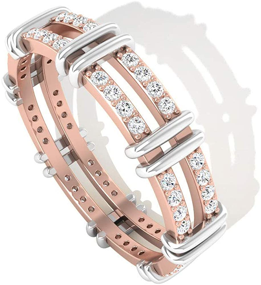Two-Tone IGI Certified Diamond Ring, Unique Eternity Engagement Ring, Pave Round Diamond Wedding Anniversary Ring, IJ-SI Color Clarity Valentine Day Gift, 14K Rose Gold,Size:US 7.5