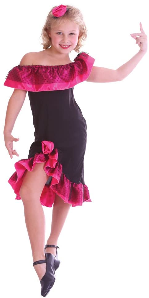 Bristol Novelty CC232 Flamenco Girl Costume (Medium), Approx Age 5 - 7 Years, Flamenco Girl Costume (M)