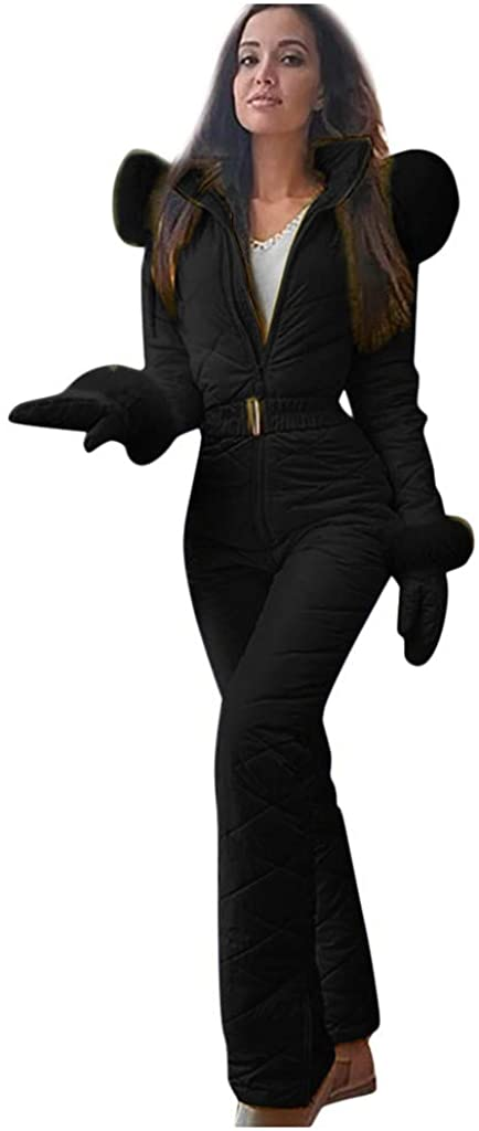 jiumoji Women Winter Warm Casual Thick Hot Snowboard Skisuit Outdoor Sports Zipper Ski Suit with Detachable Hood