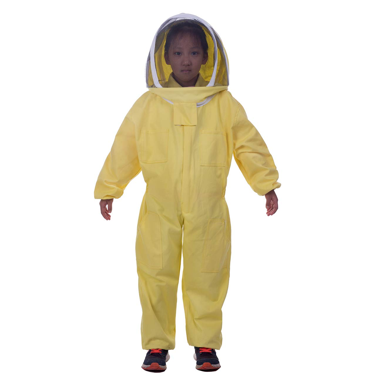 HunterBee Kids Full body Ventilated Beekeeping Suits / Children's Beekeeping Protective Cotton Suit/Self-supporting Fencing Veil hood(Yellow, 3.9ft Height)