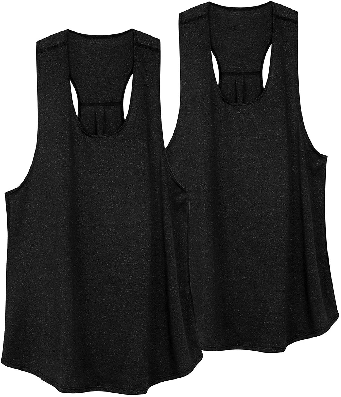 VEQKING Women Racerback Workout Tank Top Moisture Wicking Sleeveless Running Shirts