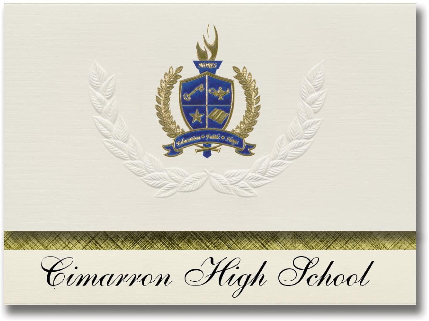 Signature Announcements Cimarron High School (Lahoma, OK) Graduation Announcements, Presidential style, Basic package of 25 with Gold & Blue Metallic Foil seal