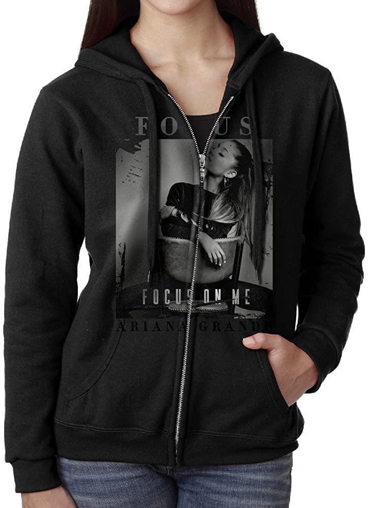 KOBT Women's Ariana Grande Focus Full Zip Sweatshirt Jackets Black