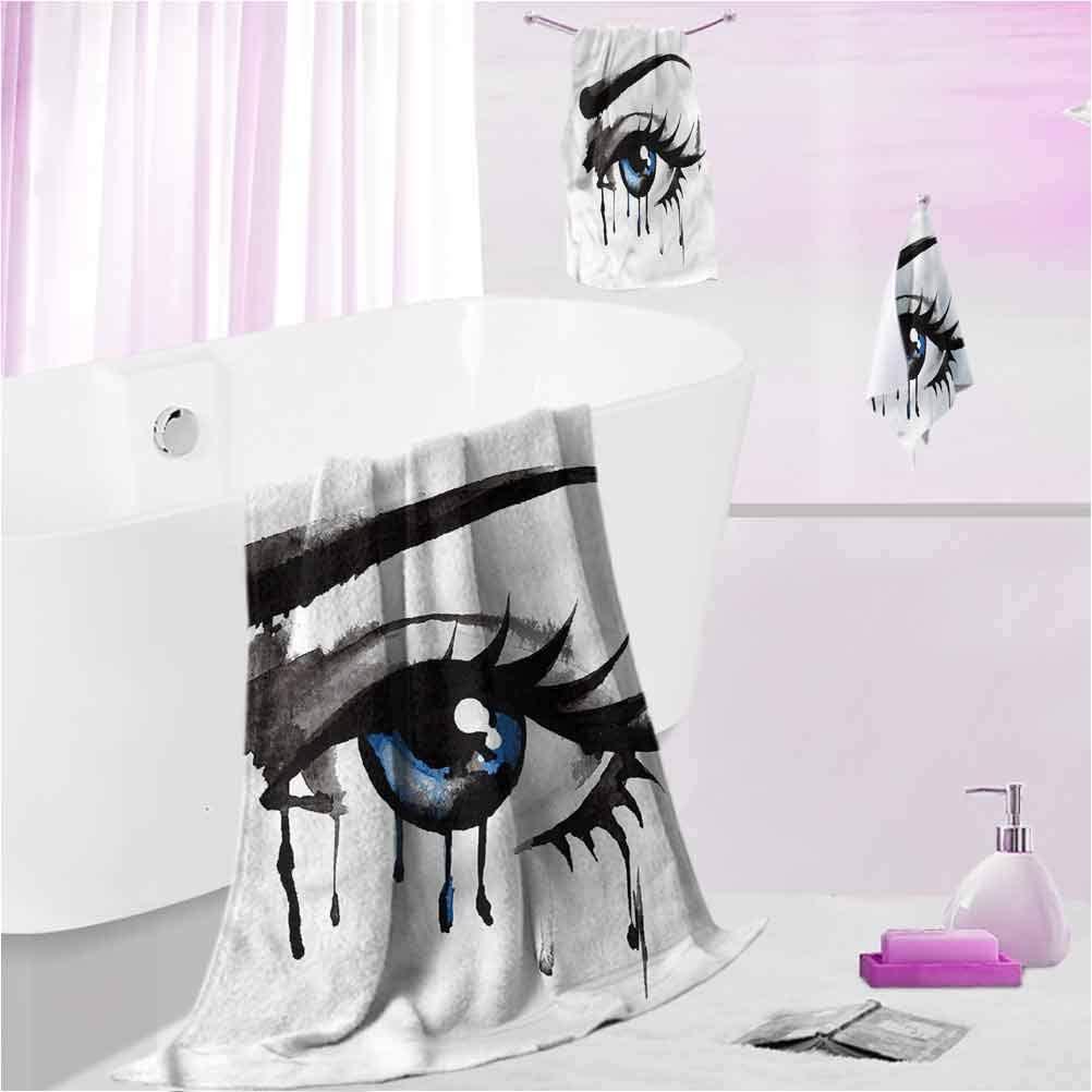 DayDayFun Custom Towels Eye Highly Absorbent Machine Washable Dramatic Look of a Woman L - Contain 1 Bath Towel 1 Hand Towel 1 Washcloth