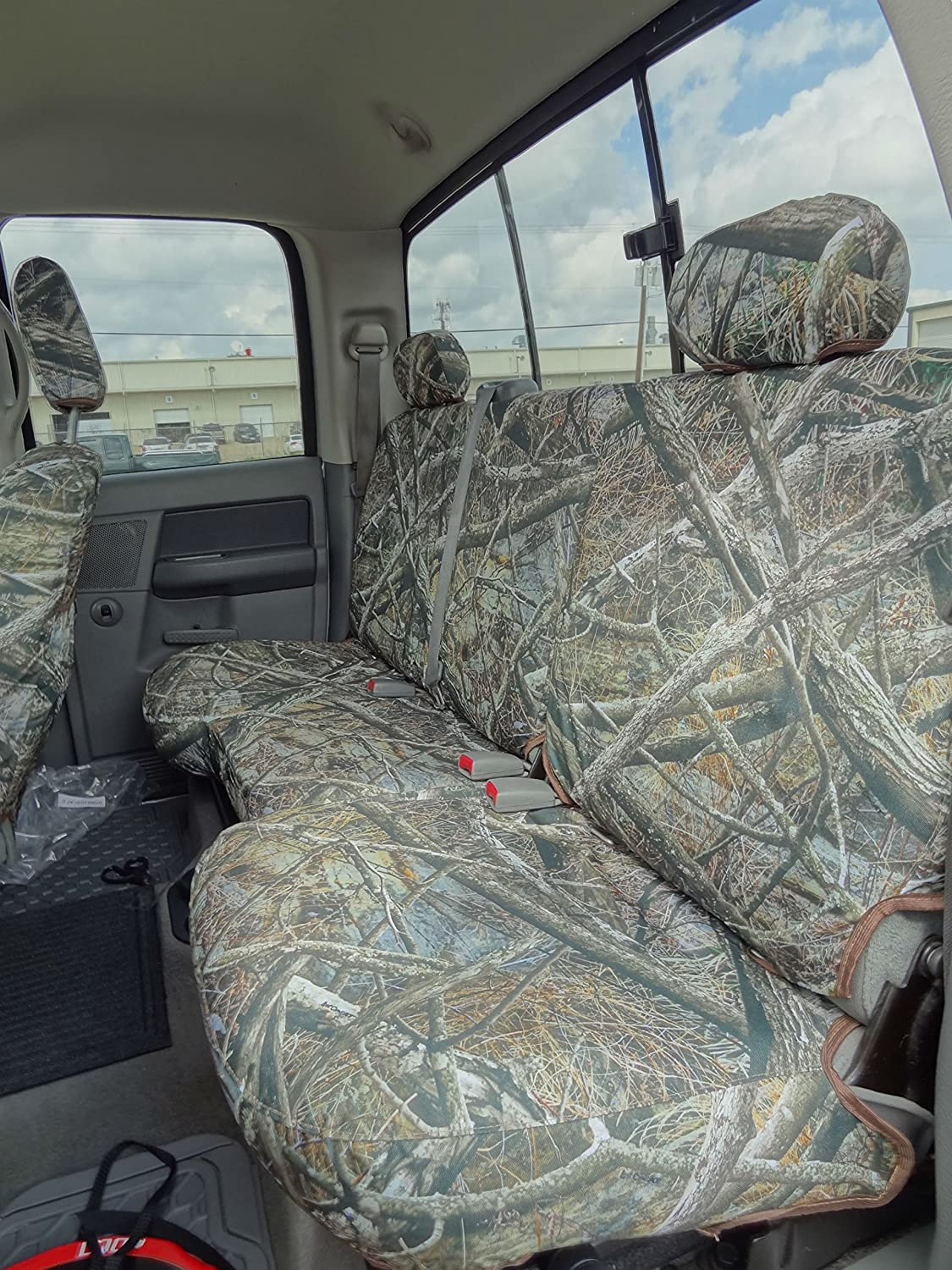 Durafit Seat Covers, D1290 Camo Endura Seat Covers for 2003-2009 Dodge Ram Crew Cab Rear 40/60 Split Bench Seat with Adjustable Headrests