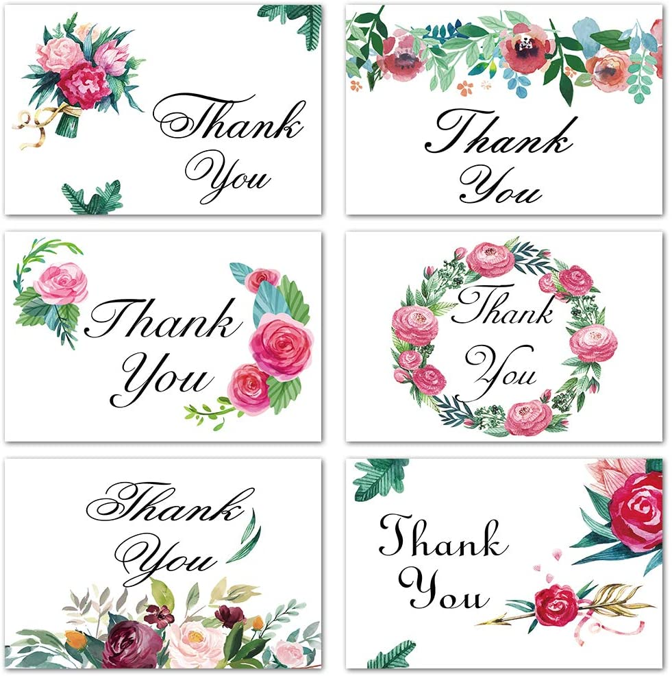 UMIKU 48 PCS Thank You Cards Floral Watercolor Thank You Notes Greeting Cards for All Accasions 6 Designs Note Cards with Stickers White Blank Envelopes