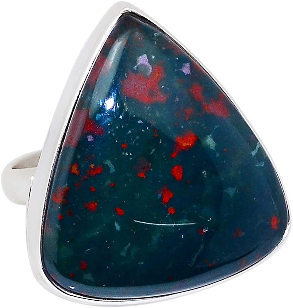 Xtremegems Blood Stone - India 925 Sterling Silver Ring Jewelry Size 7.5 31699R