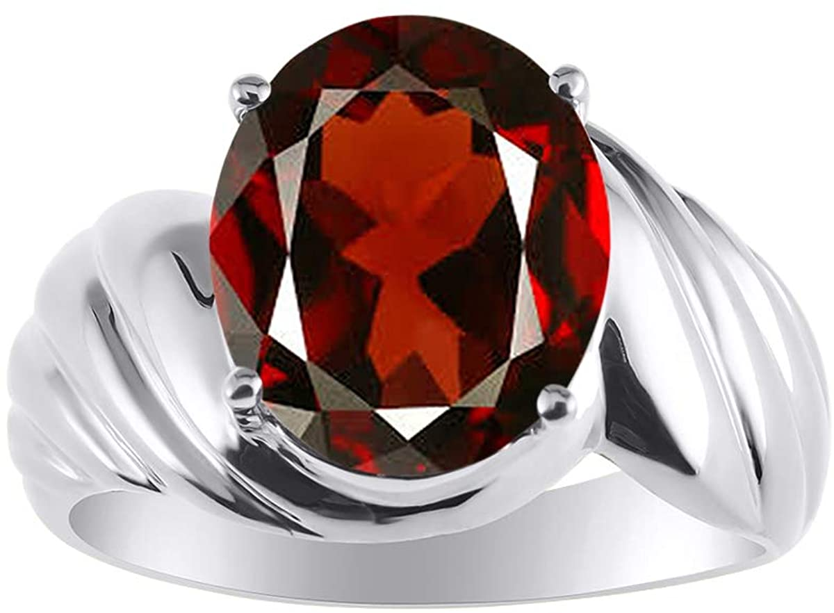 RYLOS Classic Solitaire Ring in Garnet - January Birthstone
