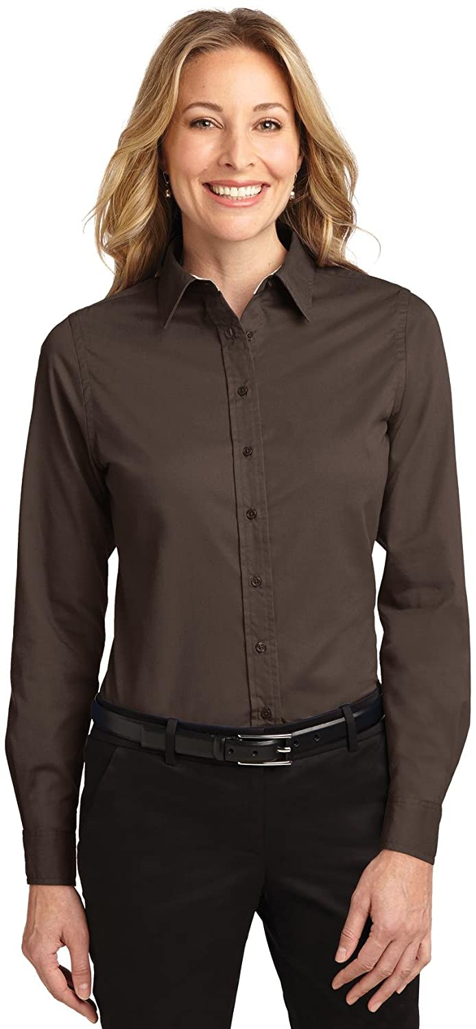 Port Authority Ladies Long Sleeve Easy Care Shirt. 5XL Coffee Bean/Light Stone