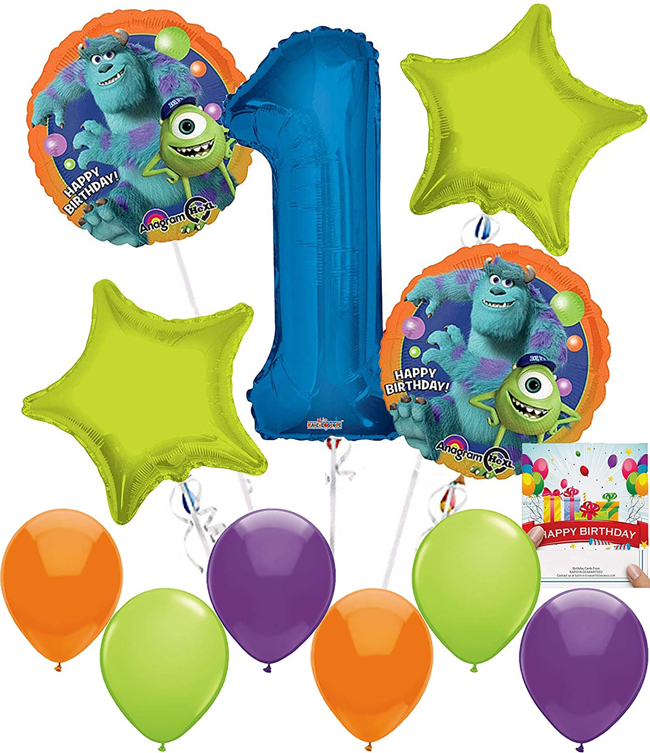 Monster's University Happy Birthday Party Supplies Balloon Decoration Bundle for 1st Birthday