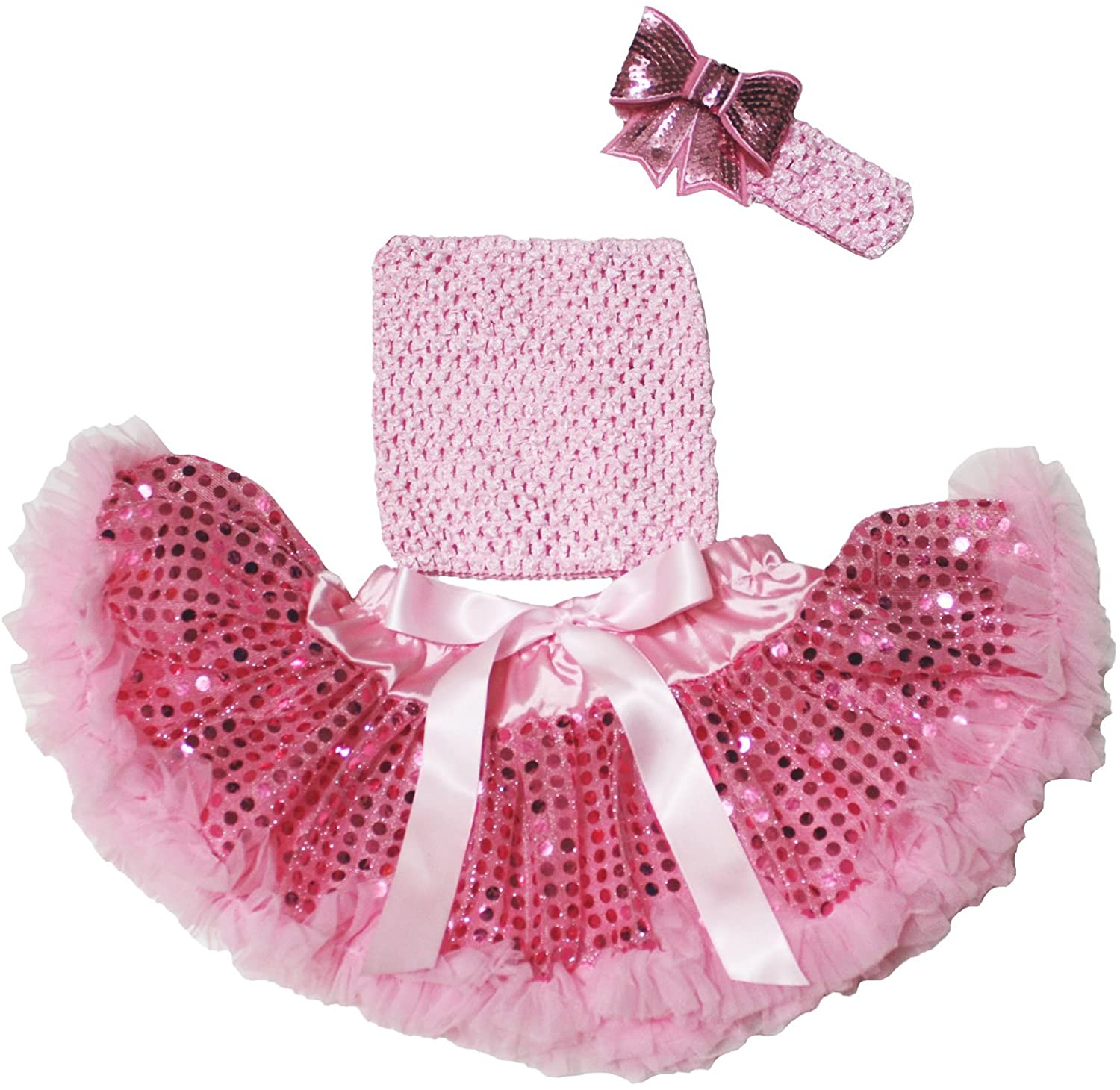 Light Pink Tube Top Sequin Chiffon Pettiskirt Baby Clothing Outfit Set 3-12m
