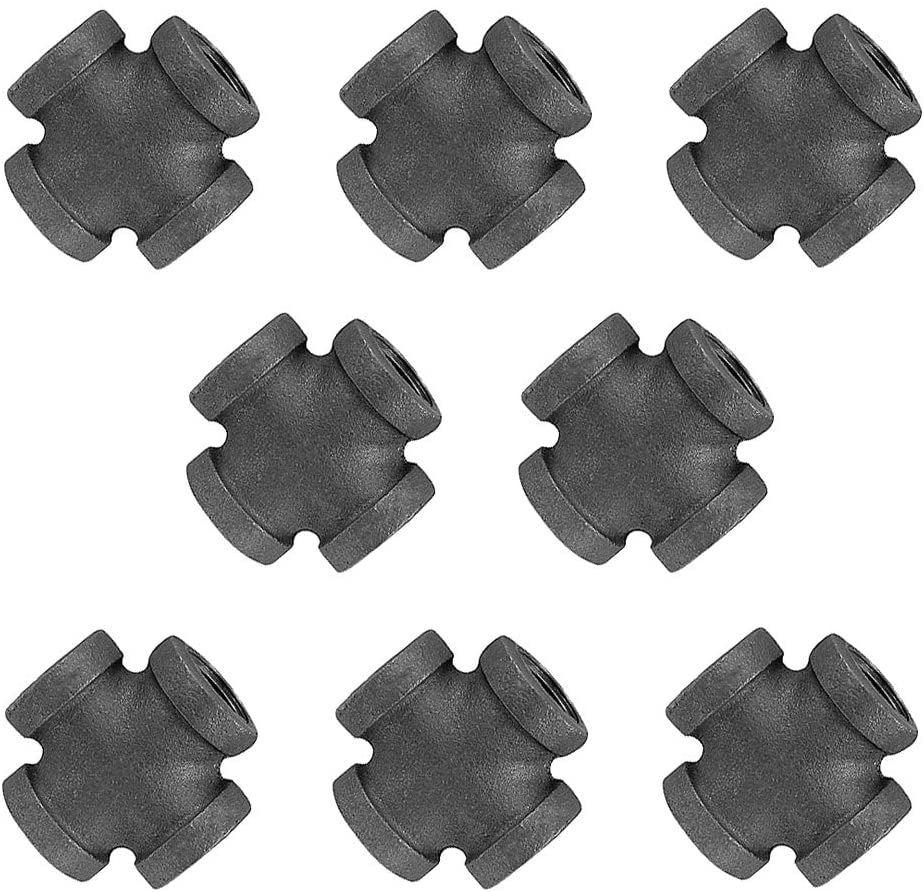 GOOVI 1/2 Inch 4 Way Corner Fitting Malleable Iron, 1/2 Inches Black Pipe Threaded Pipe Nipples, Build Vintage DIY Shelving Steampunk Furnitur, 8 Pack.