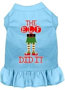 Mirage Pet Product The Elf Did It Screen Print Dog Dress Baby Blue Lg