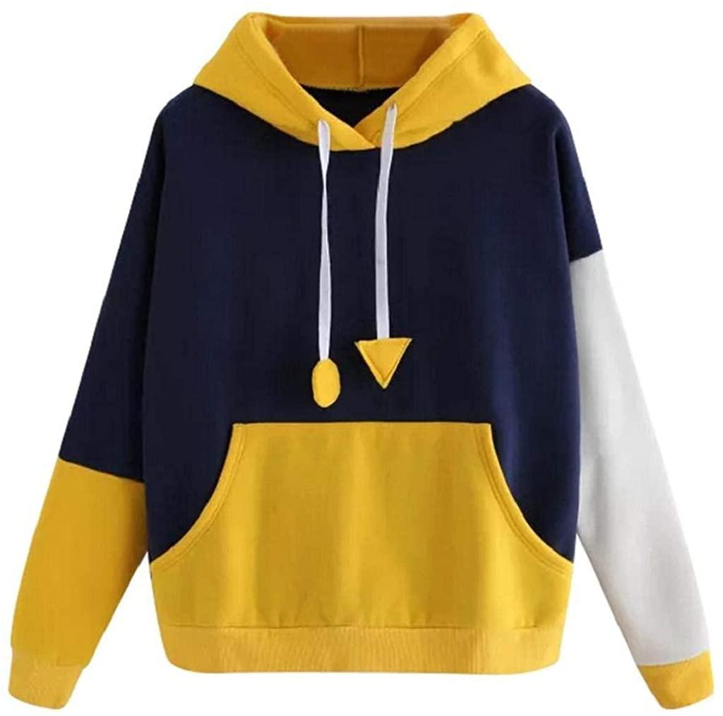 terbklf Hoodies for Women Pullover Ladies Autumn Solid Splice Drawstring Hoodie Womens Active Long Sleeve Sweatshirt