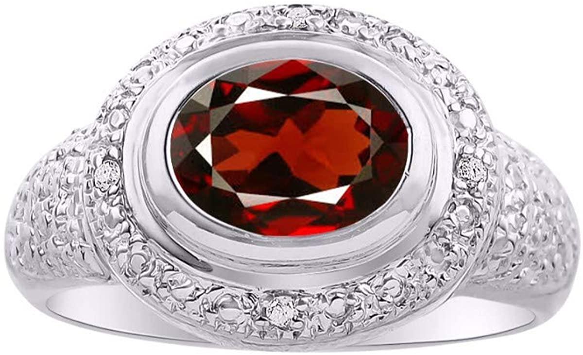 RYLOS Simply Elegant Beautiful Garnet & Diamond Ring - January Birthstone