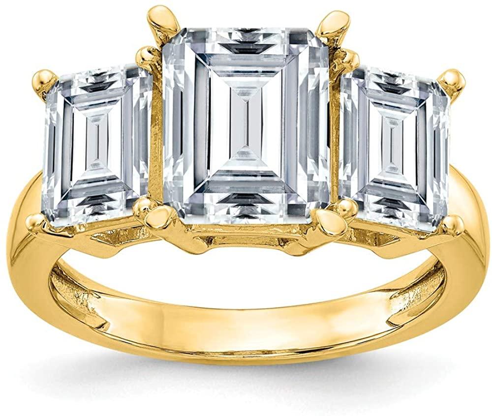 14k Yellow Gold Emerald-cut Three Stone Engagement Ring Moissanite (7 cttw.)