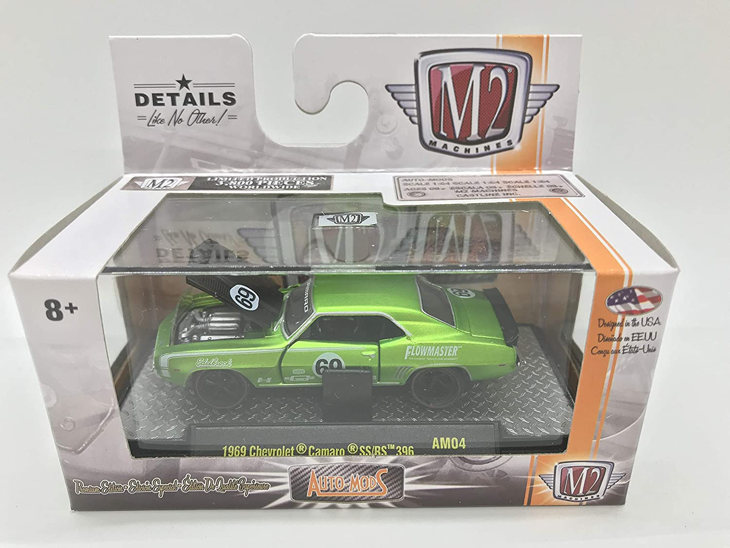M2 Machines by M2 Collectible Auto-Mods 1969 Chevy Camaro SS/RS 396 AM04 16-15 Neon Green Details Like NO Other! 1 of 3800