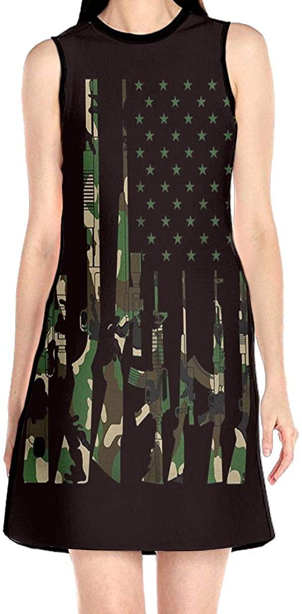 VJH-YY Army Us Flag Gun Women's Sleeveless Dress Casual Slim A-Line Dress Tank Dresses