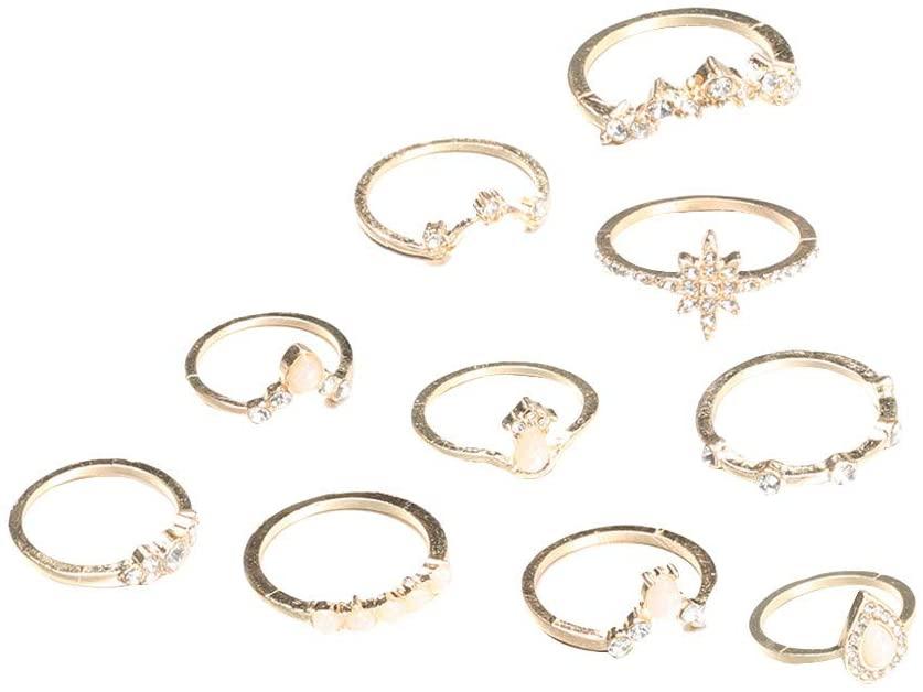 Bohemian Joint Knuckle Ring Set 12 Pcs,Haluoo Vintage Waterdrop Gemstones Midi Rings V Shape Stackable Rings Rhinestones Stacking Rings Flower Finger Rings for Women Girls Boho Jewelry