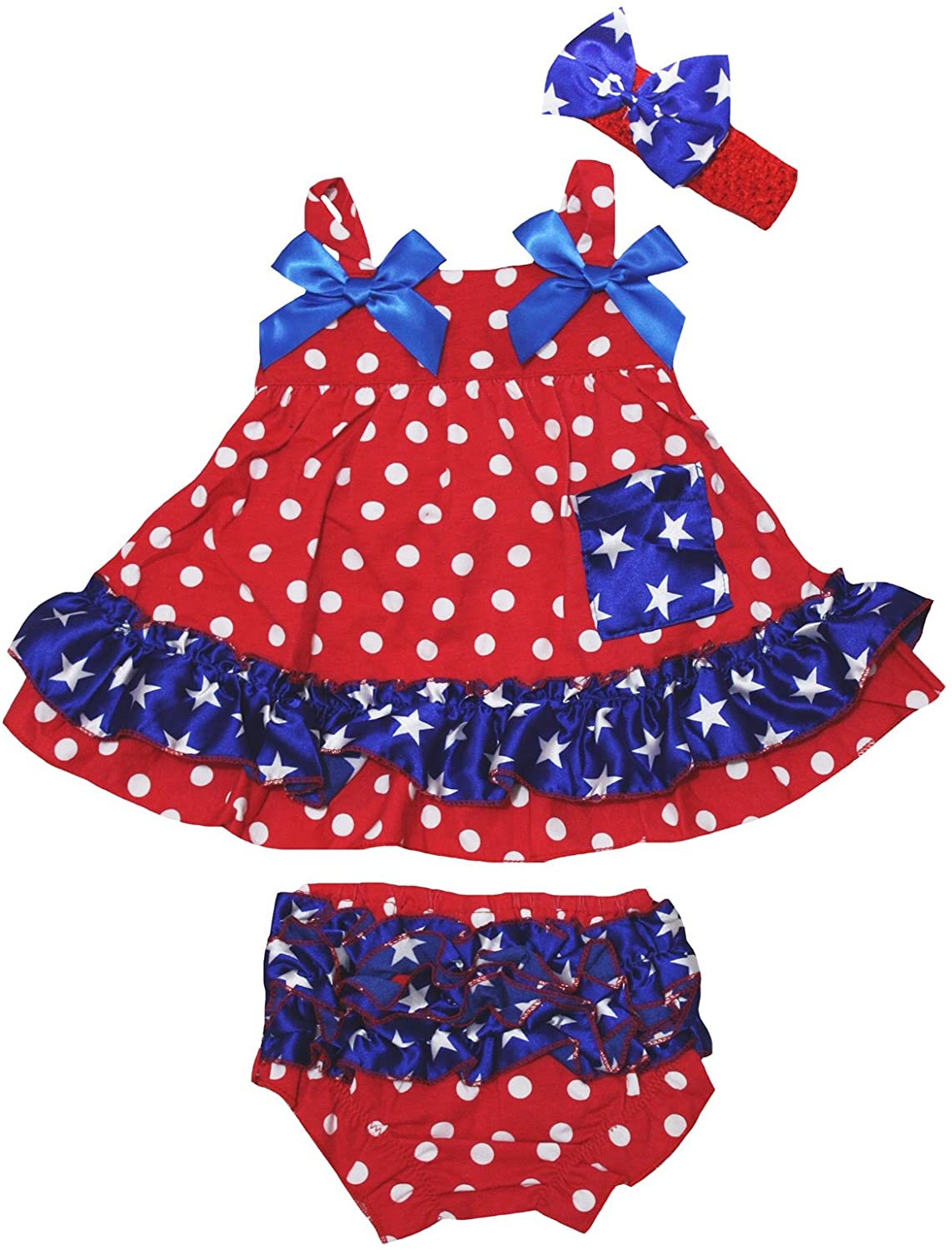 Petitebella Red Polka Dots Blue Stars Swing Top Bloomer Baby Outfit Nb-24m