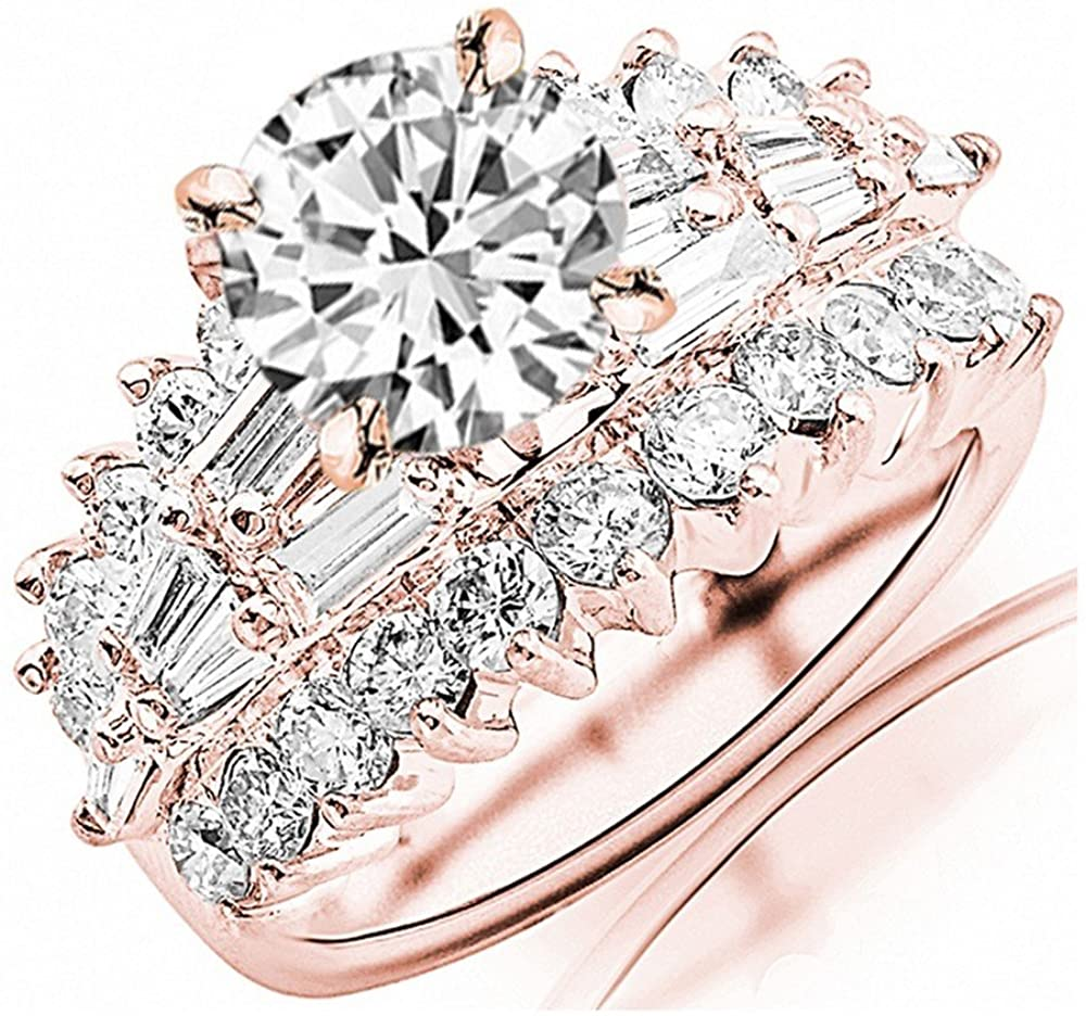 3 Ctw 14K White Gold Exquisite Designer Big Bageutte And Round GIA Certified Round Diamond Engagement Ring (1 Ct Center H-I Color VS1-VS2 Clarity)