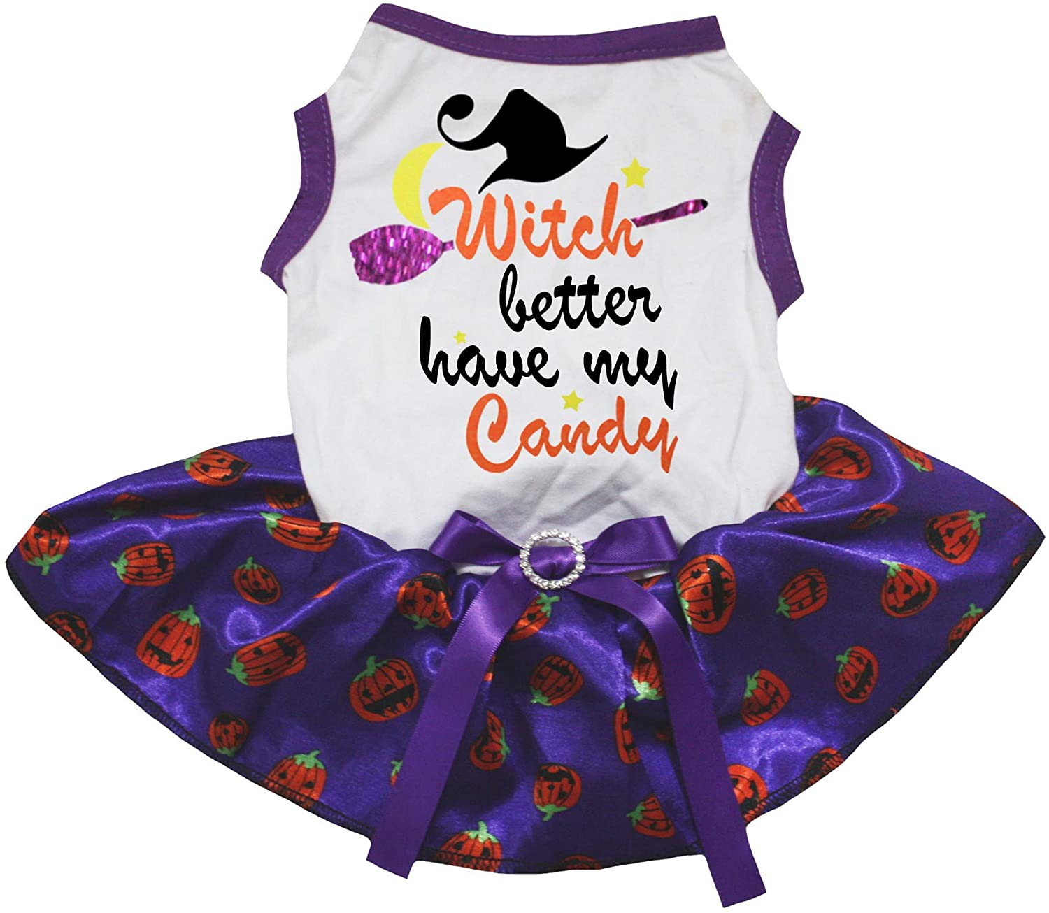 Petitebella Witch Better Have My Candy White Shirt Pumpkin Tutu Puppy Dog Dress
