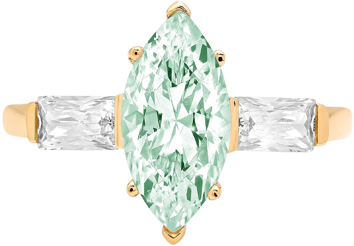 2 ct Marquise Baguette cut 3 stone Solitaire with Accent Davidsonite Mint Green Simulated Diamond Ideal VVS1 Engagement Promise Statement Anniversary Bridal Wedding Ring 14k Yellow Gold