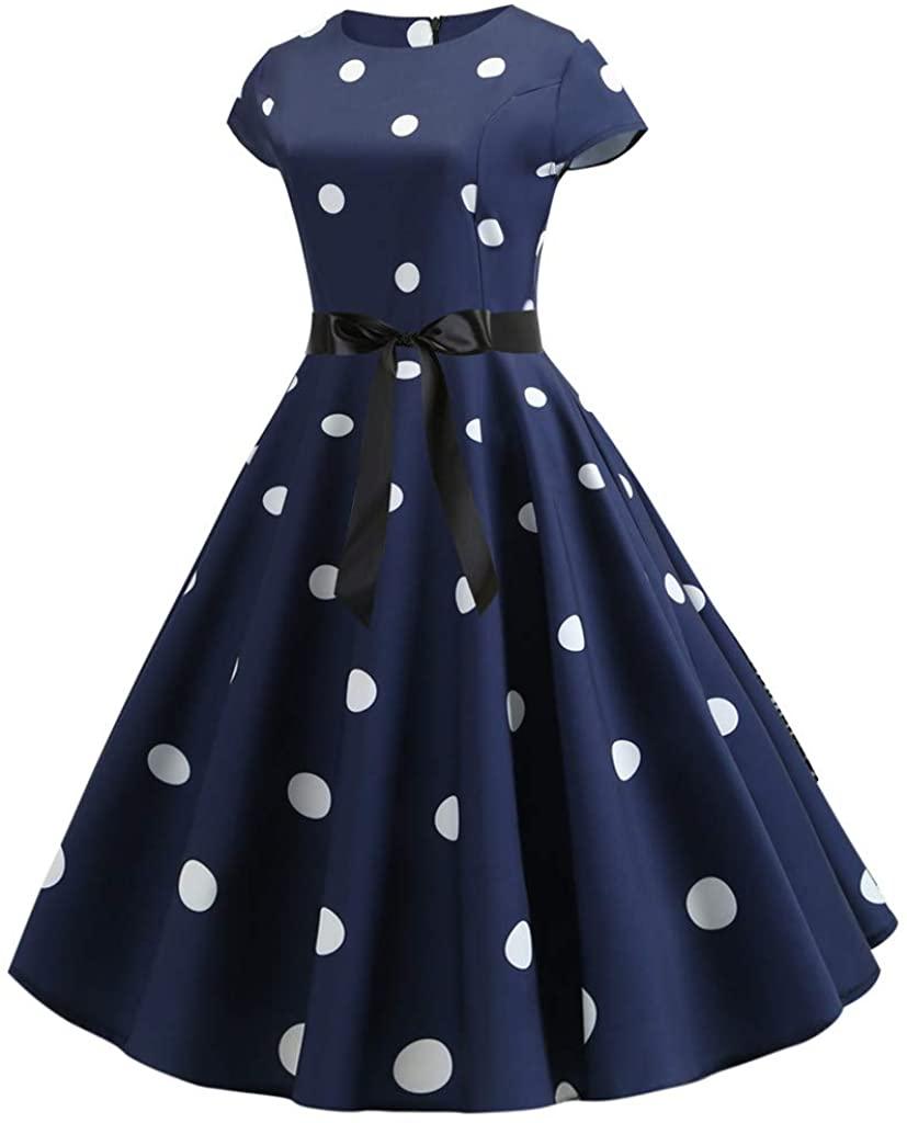 TIANMI Womens Vintage Dot Print Short Sleeve Bodycon O-Neck Evening Party Dresses