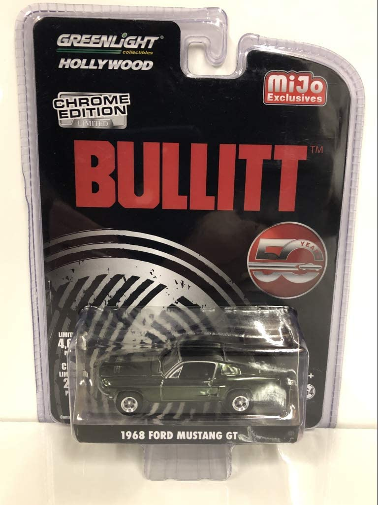 1968 Ford Mustang GT Chrome Green Edition Bullitt (1968) Movie 50 Years Anniversary Limited Edition to 4,600 Pieces Worldwide 1/64 Diecast Model Car by Greenlight 51226