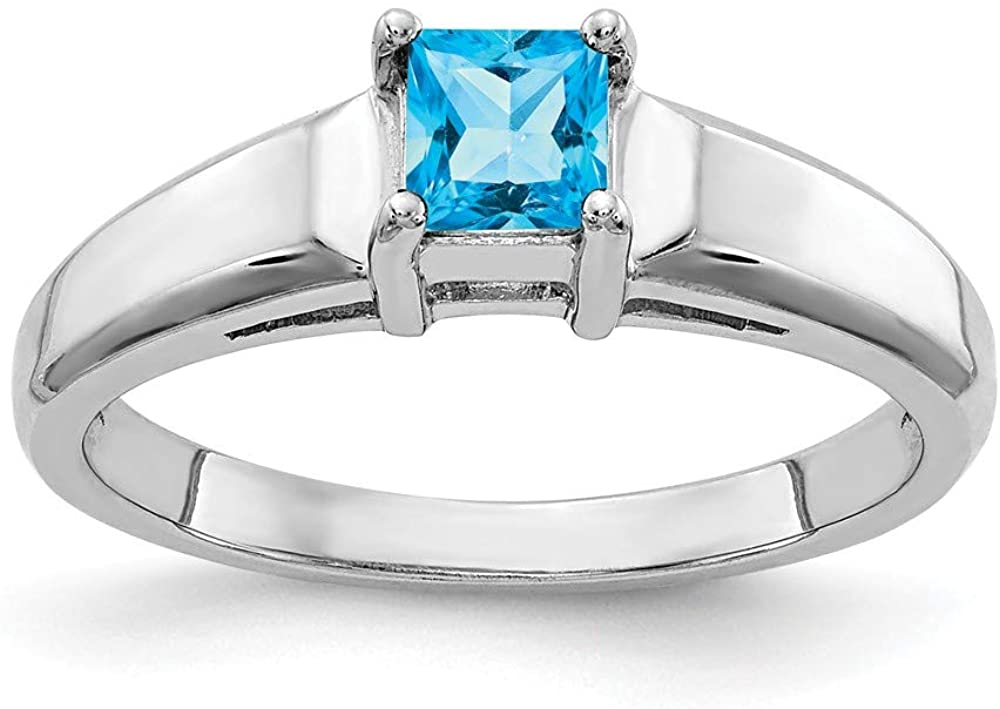Solid 14k White Gold 4mm Princess Cut Blue Topaz Engagement Ring