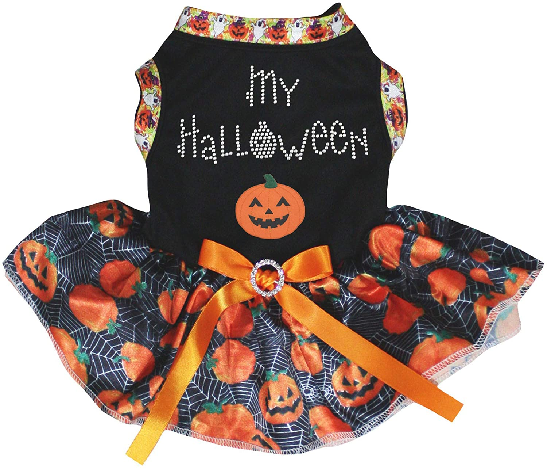 Petitebella My Halloween Pumpkin Black Shirt Pumpkin Cobweb Tutu Puppy Dog Dress