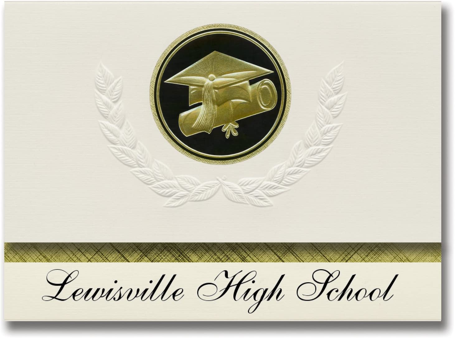 Signature Announcements Lewisville High School (Lewisville, TX) Graduation Announcements, Presidential style, Elite package of 25 Cap & Diploma Seal Black & Gold